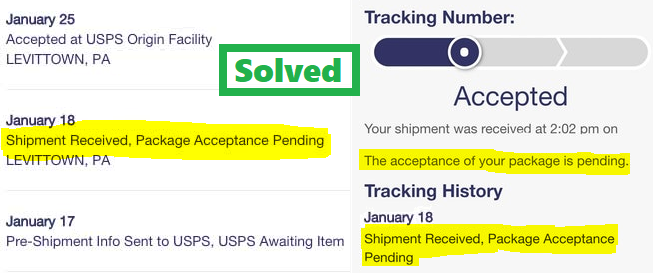 Package acceptance pending,